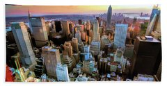 Bath Towel featuring the painting New York City Downtown Manhattan by Christopher Arndt
