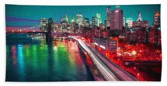 New York City Lights Red Hand Towel