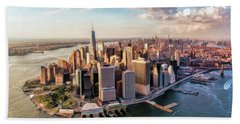 New York City Manhattan Aerial Skyline Hand Towel