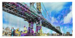 New York City Manhattan Bridge Blue Hand Towel