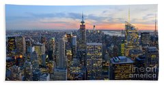 New York City Manhattan Empire State Building At Dusk Nyc Panorama Bath Towel