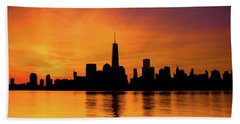 New York City Manhattan Sunrise Skyline Hand Towel