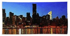 Hand Towel featuring the digital art New York City Night Lights by PixBreak Art