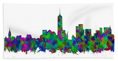 New York City Skyline Abstract Silhouette I Bath Towel