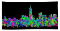 New York City Skyline Abstract Silhouette II Bath Towel