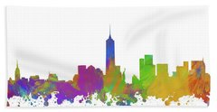 New York City Skyline Silhouette V Bath Towel
