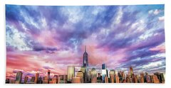 New York City Skyline Sunset Hand Towel
