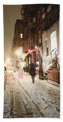 New York City - Snow - Night Bath Towel