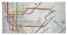 New York City Subway Map Bath Towel