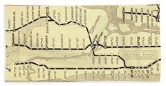 New York City Subway Map Vintage Bath Towel