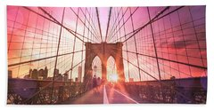 New York City - Sunset On The Brooklyn Bridge Hand Towel