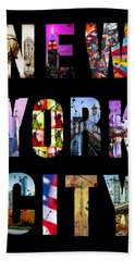 New York City Text On Black Hand Towel