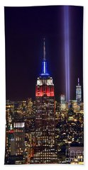 New York City Tribute In Lights Empire State Building Manhattan At Night Nyc Bath Towel