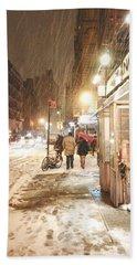 New York City - Winter Night - Snow In The City Bath Towel