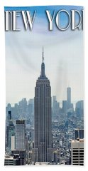 New York Classic View With Text Bath Towel