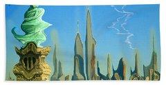 New York Fantasy Skyline - Modern Artwork Bath Towel