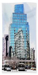 New York In Reflection Hand Towel by Kai Saarto