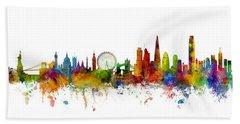 New York, London And Hong Kong Skyline Mashup Hand Towel