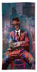 New York Man Seated City Background 2 Hand Towel