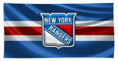 New York Rangers - 3d Badge Over Flag Hand Towel