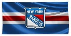 New York Rangers - 3d Badge Over Flag Bath Towel