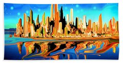 New York Skyline In Blue Orange - Modern Fantasy Art Hand Towel