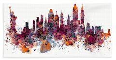 New York Skyline Watercolor Hand Towel