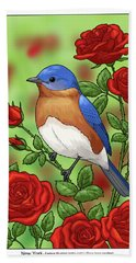 New York State Bluebird And Rose Hand Towel
