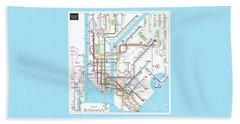 New York Subway Map Bath Towel