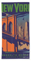 New York Vintage Travel Poster Bath Towel
