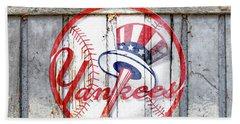 New York Yankees Top Hat Rustic Hand Towel