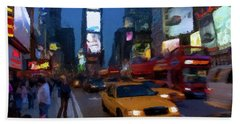 Hand Towel featuring the painting New York Yellow Cab by David Dehner