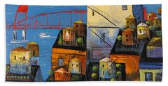 Bath Towel featuring the painting New York,red Bridge by Mikhail Zarovny