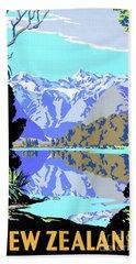 New Zealand Lake Matheson Vintage Travel Poster Hand Towel