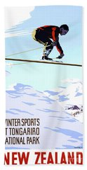 New Zealand Winter Sports Vintage Travel Poster Hand Towel