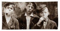 Newsboys Smoking - 1910 Child Labor Photo Hand Towel