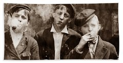 Newsboys Smoking - 1910 Child Labor Photo Bath Towel