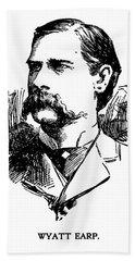 Hand Towel featuring the mixed media Newspaper Image Of Wyatt Earp 1896 by Daniel Hagerman