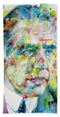 Hand Towel featuring the painting Niels Bohr - Watercolor Portrait by Fabrizio Cassetta