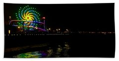 Bath Towel featuring the photograph Night At Santa Monica Pier by Art Block Collections