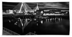 Night Falling On Zakim Bridge Hand Towel