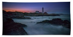 Hand Towel featuring the photograph Night Falls On Portland Head by Rick Berk