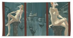 Night In Venice. Triptych Bath Towel