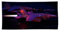 Night Launch - Uss Kitty Hawk Bath Towel by Tim Beach