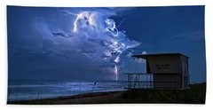 Night Lightning Under Full Moon Over Hobe Sound Beach, Florida Hand Towel