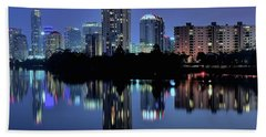Night Lights Austin Texas 2016 Hand Towel by Frozen in Time Fine Art Photography