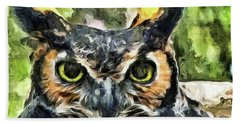 Night Owl Hand Towel by Trish Tritz