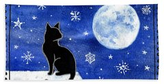 Night Patrol At Wintertime Bath Towel