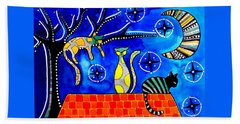 Bath Towel featuring the painting Night Shift - Cat Art By Dora Hathazi Mendes by Dora Hathazi Mendes