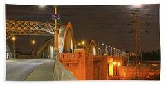 Night Shot Of The Los Angeles 6th Street Bridge And Supermoon #1 Hand Towel